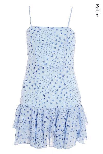 Petite Blue Heart Print Frill Dress